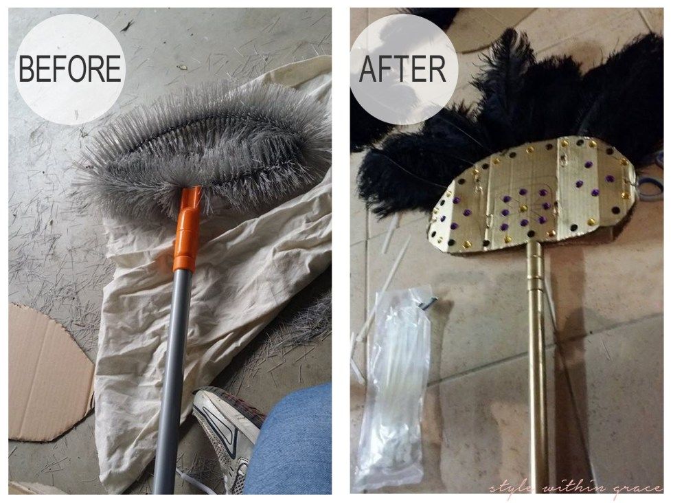 DIY Egyptian Fan Costume Prop Before and After