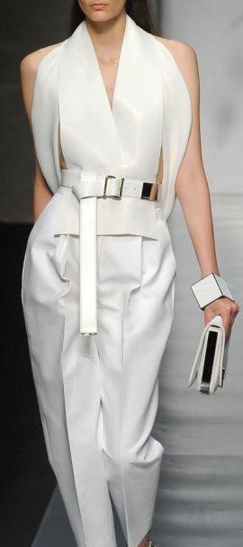 Gianfranco Ferré ~ Summer White Silk Blouse w Trouser