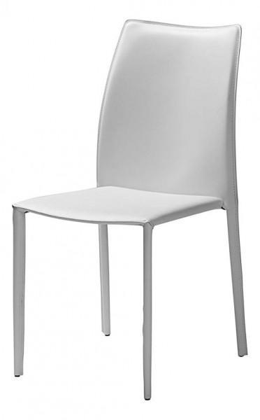 chaise teinte blanche en cuir
