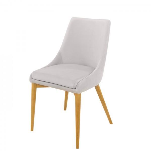 chaise confort velours blanc pieds bois