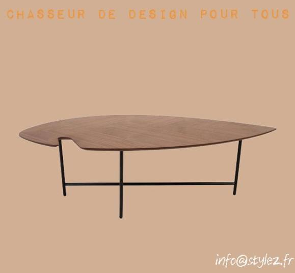 table basse leaf noyer