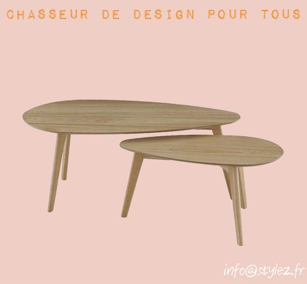 table basse double bois massif