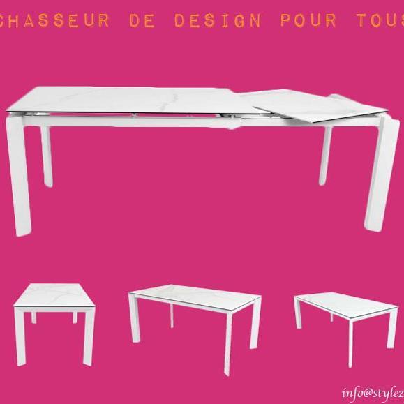 table rallonge effet marbre blanche