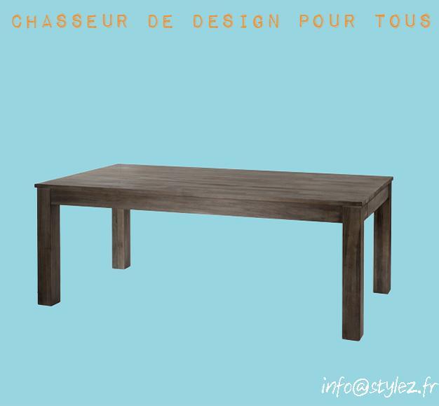 table teck marron gris vintage