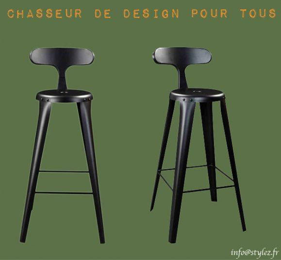 tabouret métal vintage design noir