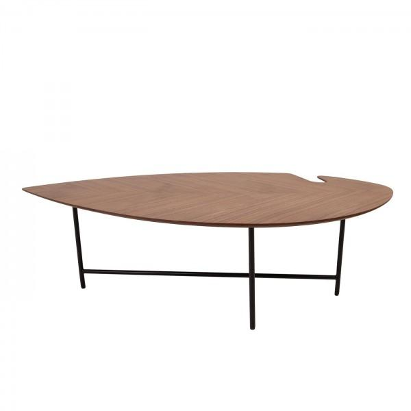 leaf table pieds métal plateau noyer