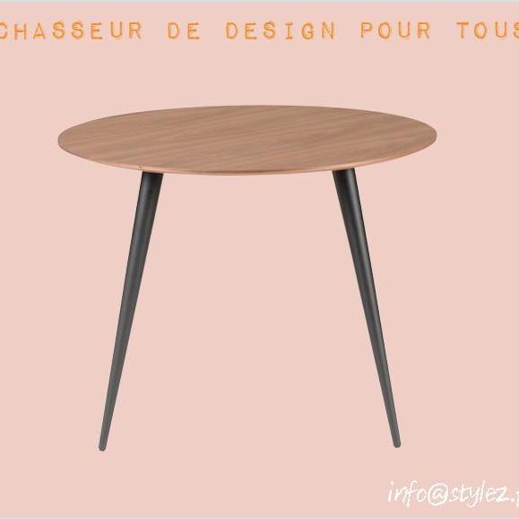 table ronde bois marron foncé