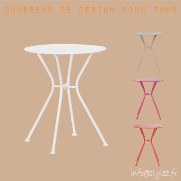 table métal extérieur couleurs design