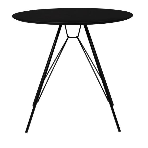 table noire ronde design solide