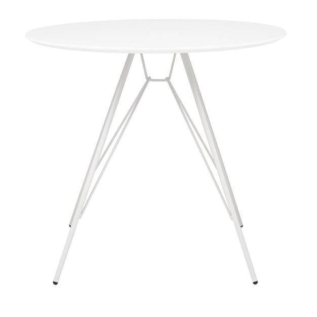 table acier design blanche mate