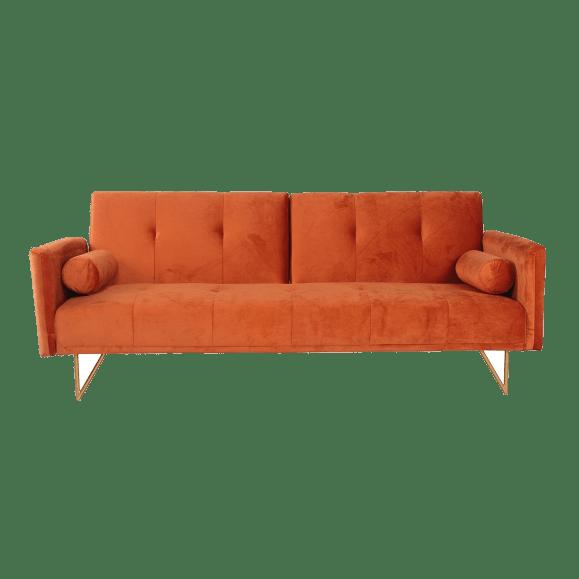 canapé lit orange foncé velours