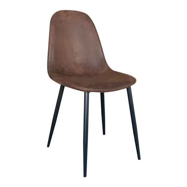chaise simili cuir marron foncé