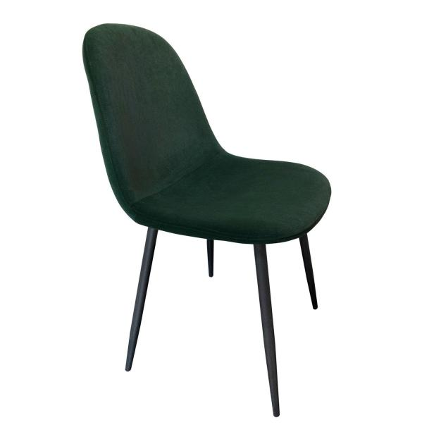 chaise velours solide verte sapin pieds noirs