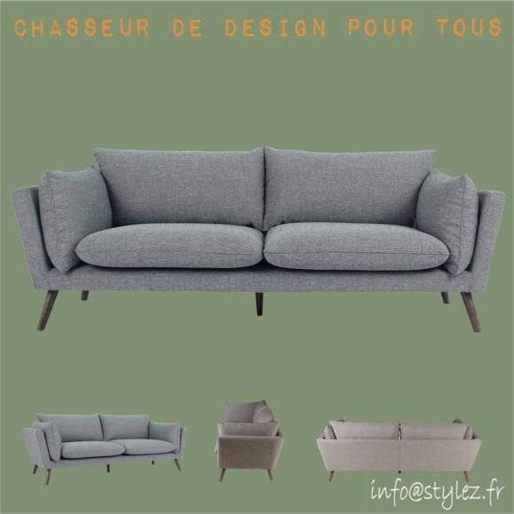 canapé en tissu gris clair 3 place avec 6 coussins brooks