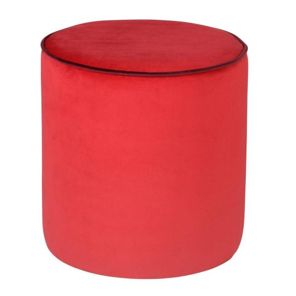 pouf rond velours rouge