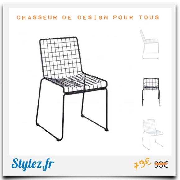 Chaise grid métal