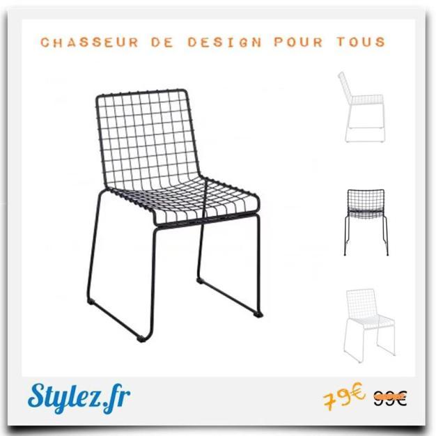 Chaise grid métal
