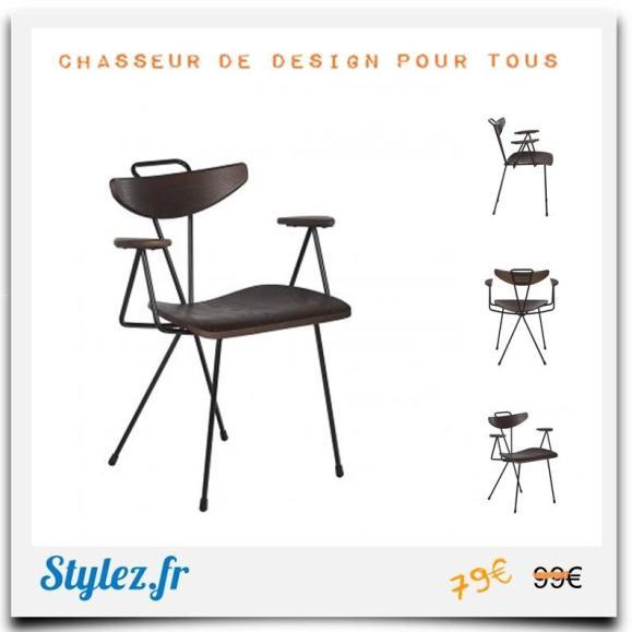 Chaise scandi bois métal