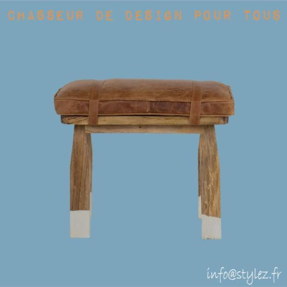 Tabouret arti bois cuir