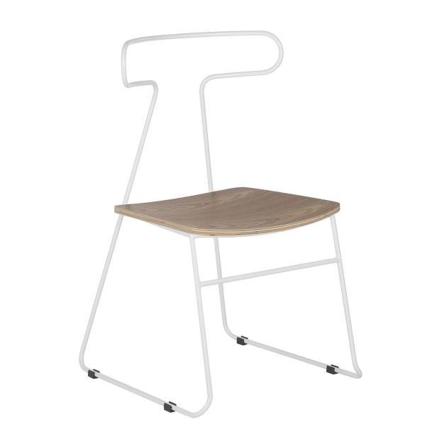 chaise bois et métal blanc