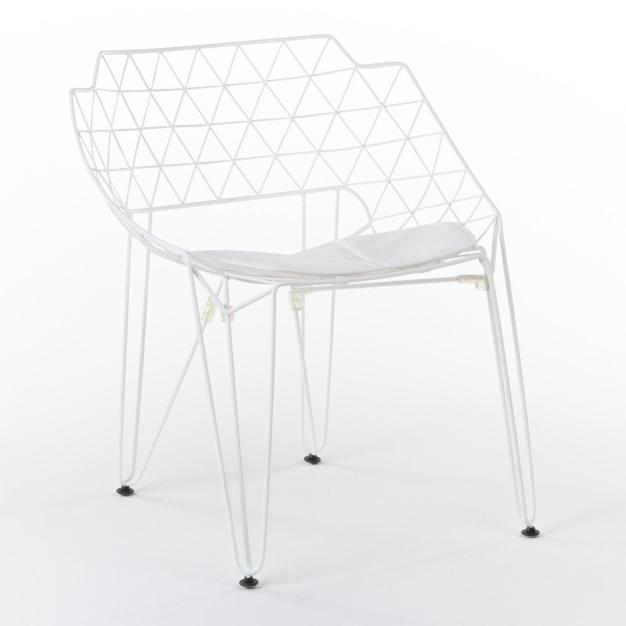 fauteuil design grid blanc