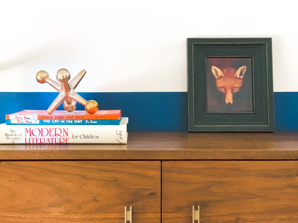 Styling Gypsy Interior Design | Classically Cool Boys Room reveal mid-century desk vignette featuring large brass jack decor, framed fox art print #boysroom #boysroomideas #boysroominspiration #starwarsbedroom #boysroomdecor #kidsroom