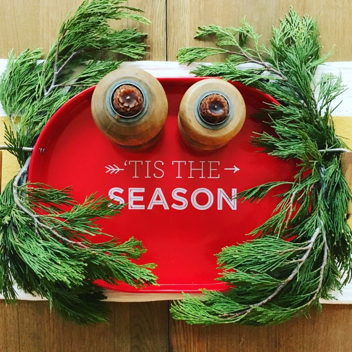 Styling Gypsy Interior Design | Your guide to simple, stress-free holiday decorating | holiday decor featuring a red tis the season tray with wood candle holders and fresh evergreen sprigs #holidaydecor #christmasdecorations #holidaydecorating #holidaydecorideas #christmasdecorideas #holidaystyle