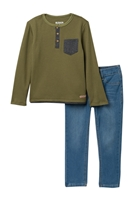 HUDSON Jeans | Thermal Henley & Jeans Set (Toddler Boys)