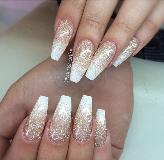 Glitter Ombre Nails Pink And White Novocom Top