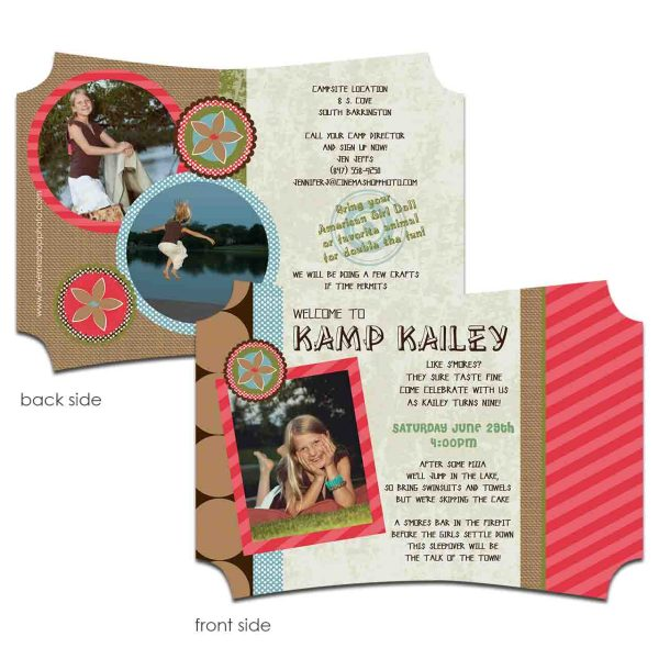 Camping Girl invitation