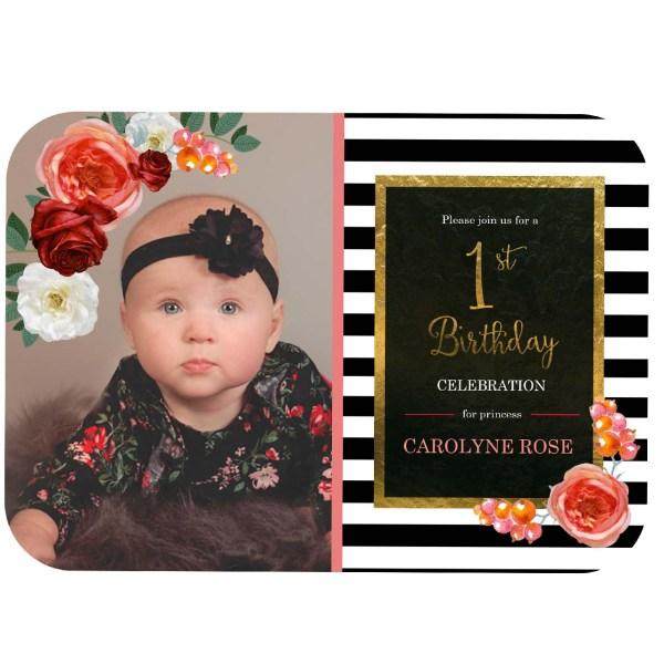 floral and stripe birthday invitation