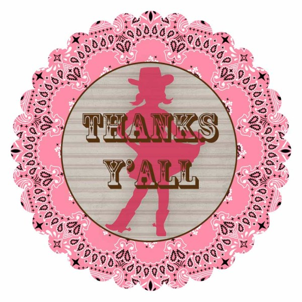 pink cowgirl thank you sticker