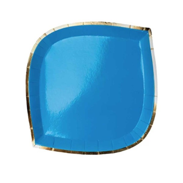 blue die cut paper plate with gold trim