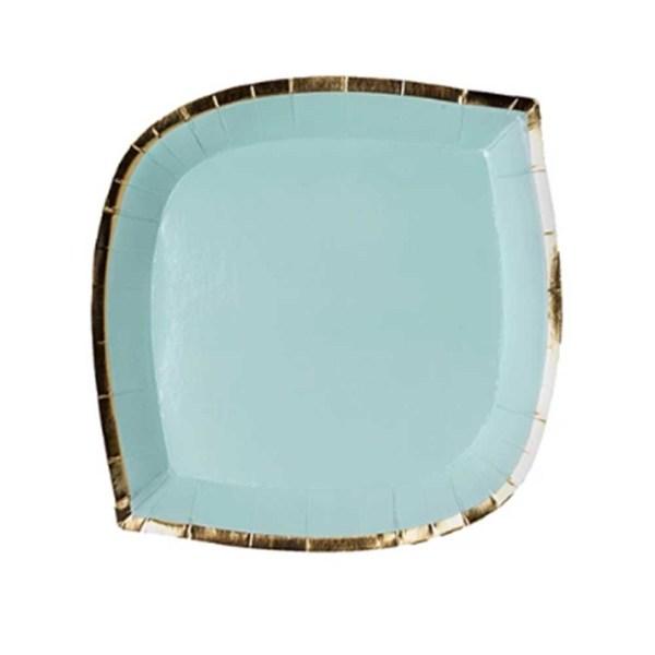 aqua blue die cut paper plate with gold trim