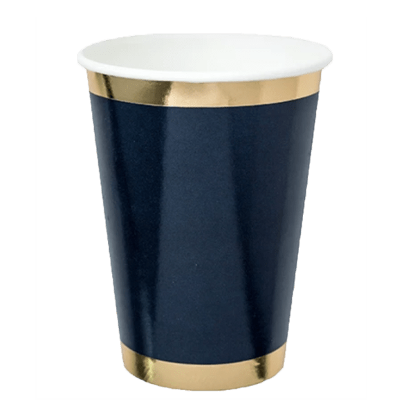 navy paper tumbler with gold trim