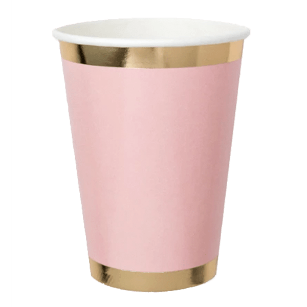 pink paper cup with gold trim