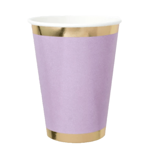 lilac paper tumbler with gold trim