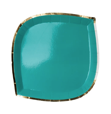 teal die cut paper plate with gold trim
