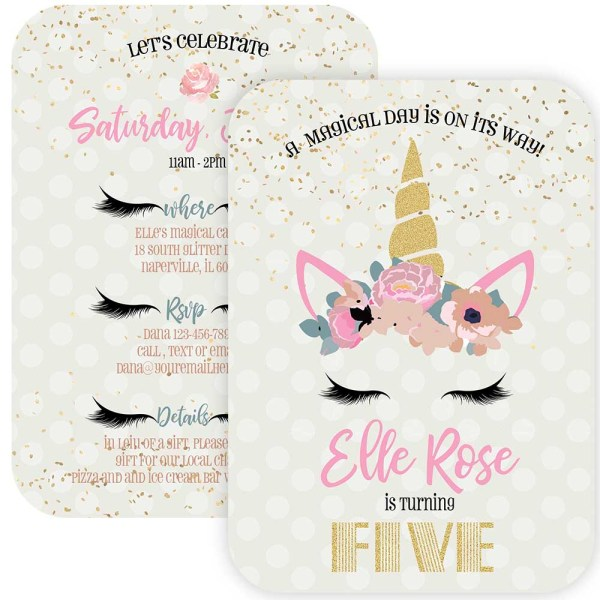 floral unicorn invitation