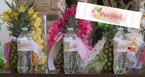 pineapple water bottle label