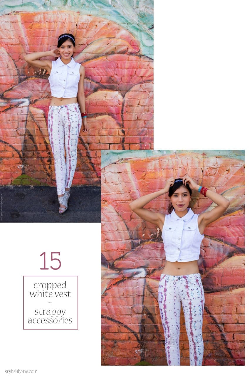 Patterned white jeans and cropped white denim vest - 15 Stylish Ways to Wear White Jeans