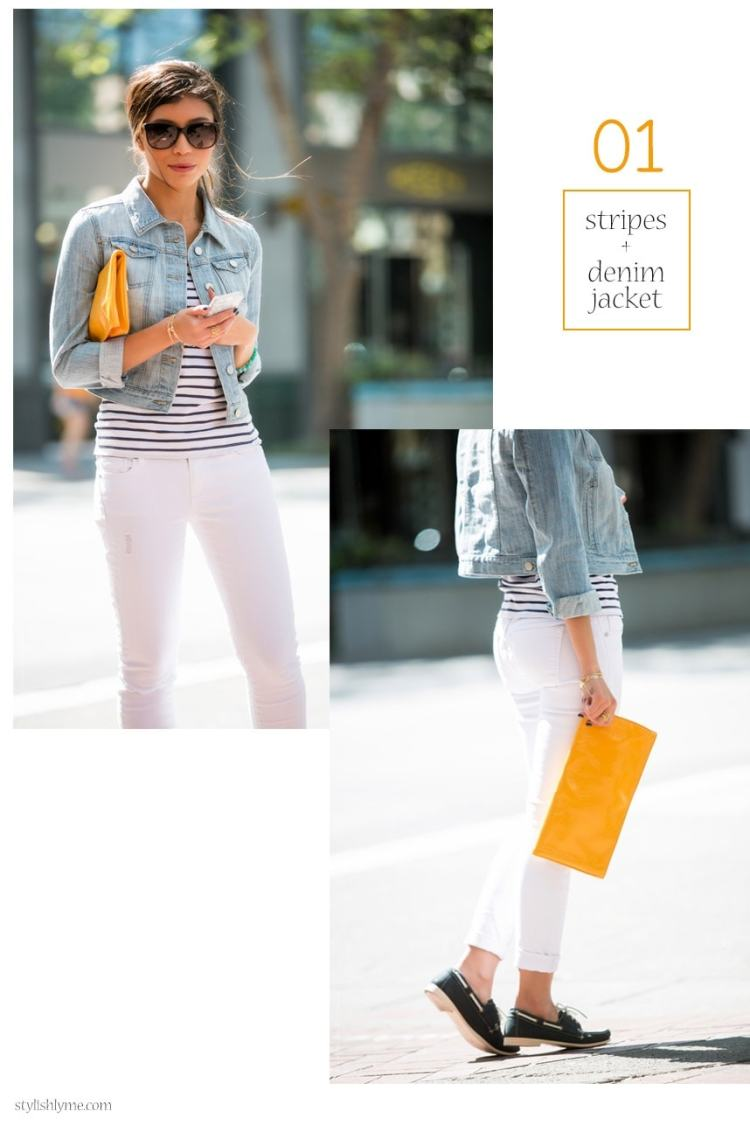 What to wear with white jeans: White jeans, light wash cropped denim jacket and flats - 15 Stylish Ways to Wear White Jeans