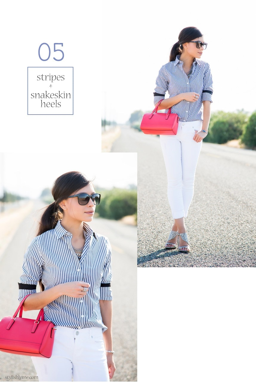 White jeans outfit, striped button down and a pop of color - 15 Stylish Ways to Wear White Jeans