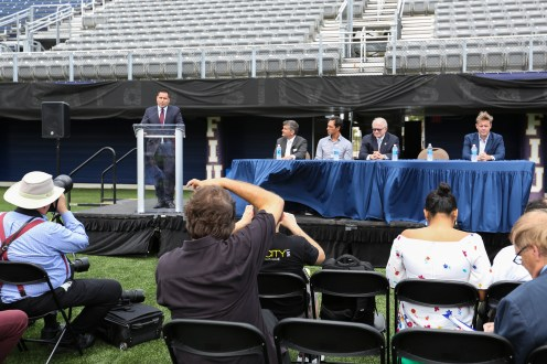 Riccardo Silva talks during a press conference in Florida International University's newly renamed Riccardo Silva Stadium in Miami, Florida on April 3, 2017.