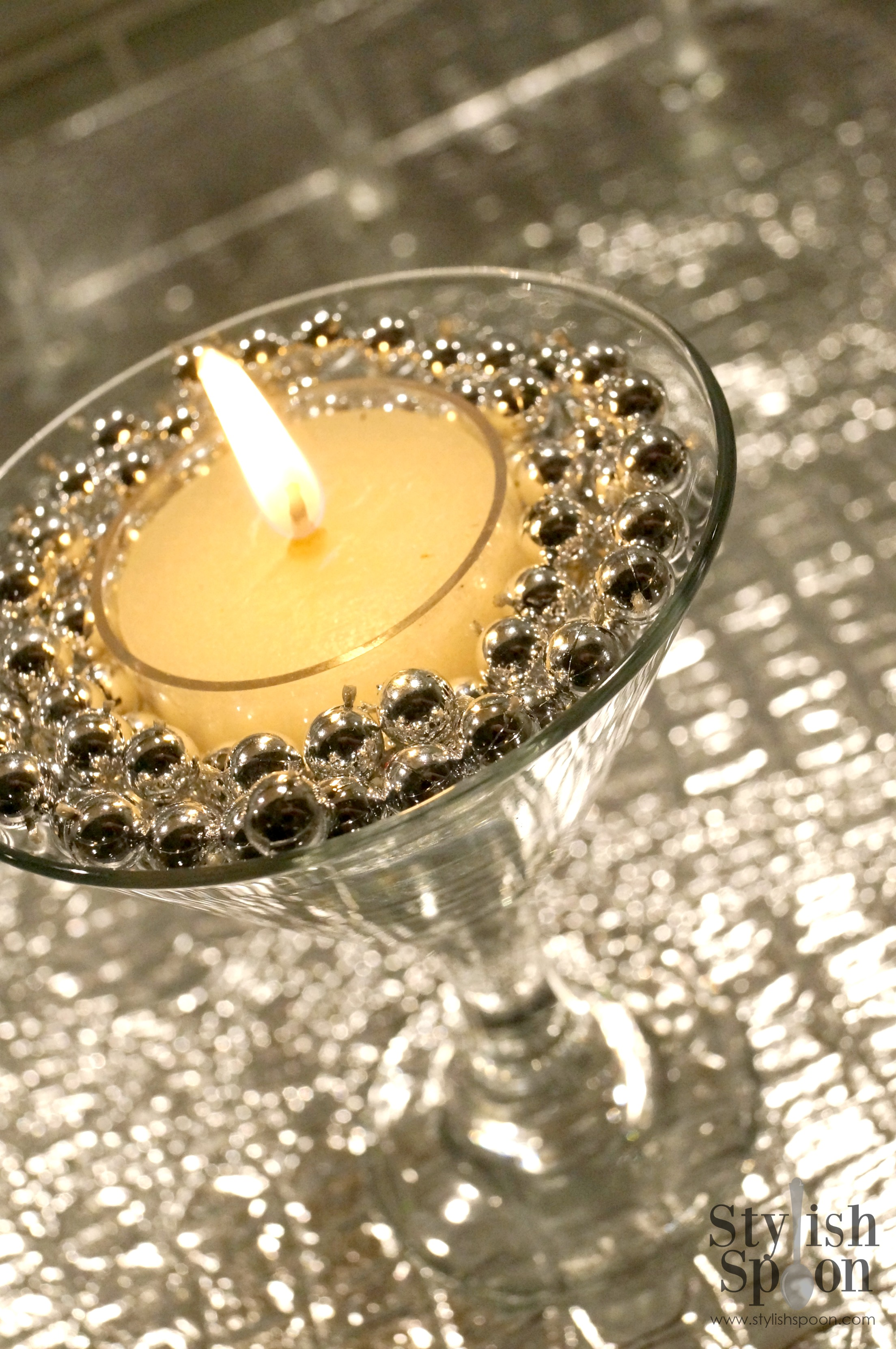 DIY  Silver Bead Martini Glass Candle Holders  Stylish