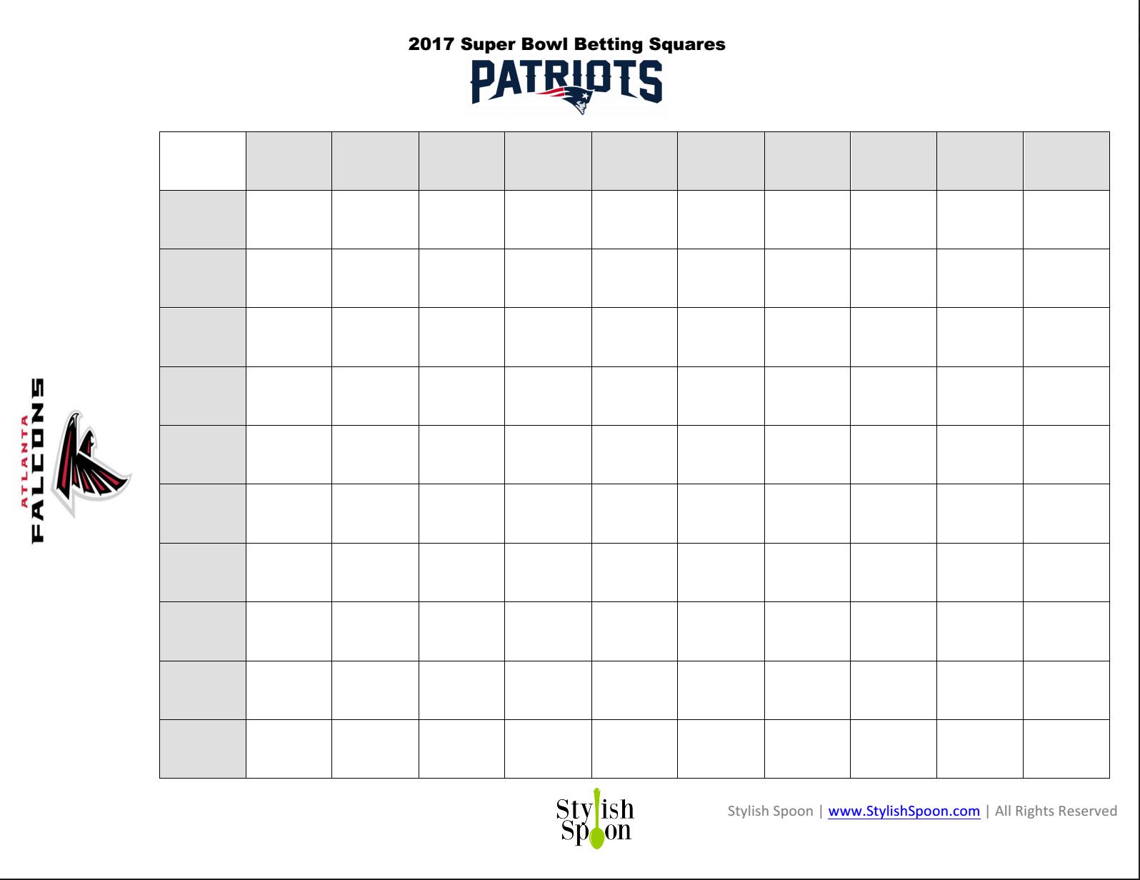 Free Printable 2017 Super Bowl Betting Squares  Stylish Spoon