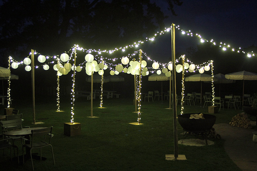 Image of a free standing frames with fairy lights and