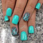 spring nails in teal color