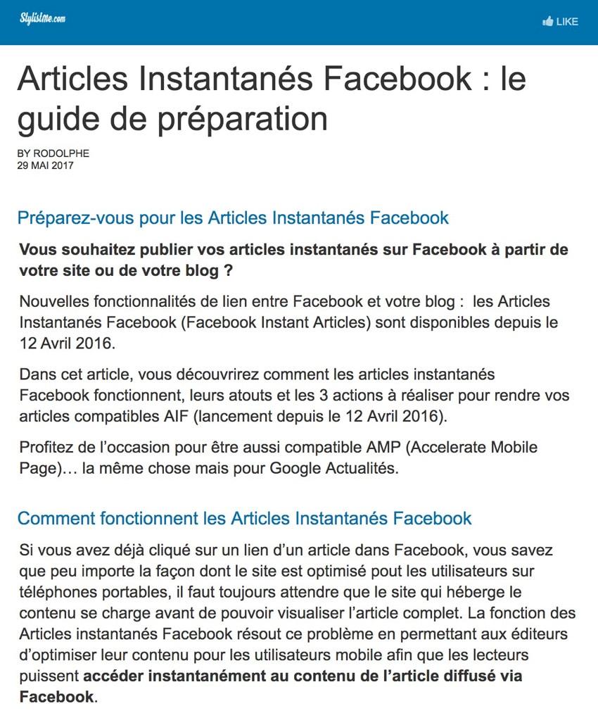 Articles instantanés Facebook visualisation