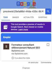 google for jobs affichage référencement sur mobile